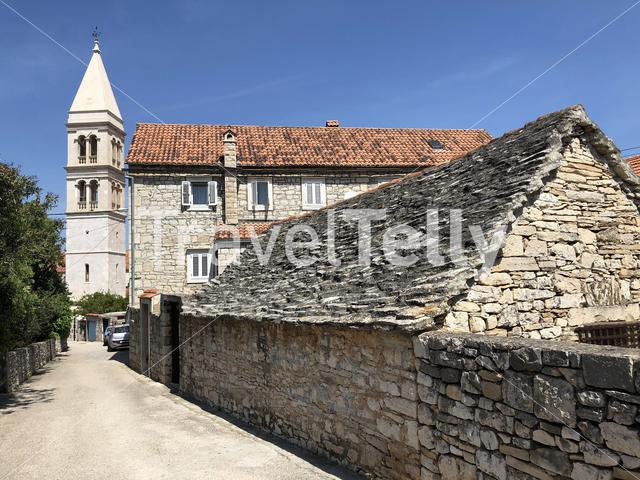 Crkva sv. Petra church and traditional architecture in Supetar on Brac island in Croatia