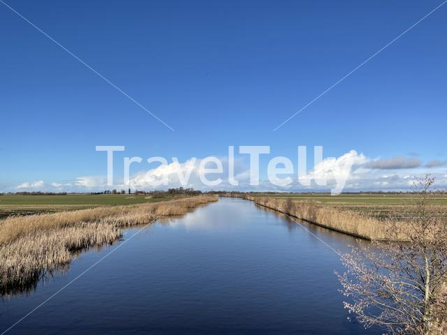 Canal on a winter day around Broek in Friesland The Netherlands