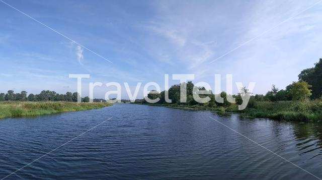 River the Vechte panorama around Rheeze, Overijssel The Netherlands