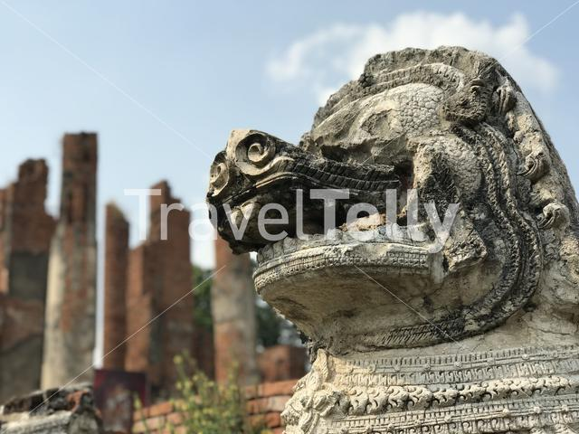 Statue at Wat Thammikarat a Buddhist temple in the city of Ayutthaya, Thailand