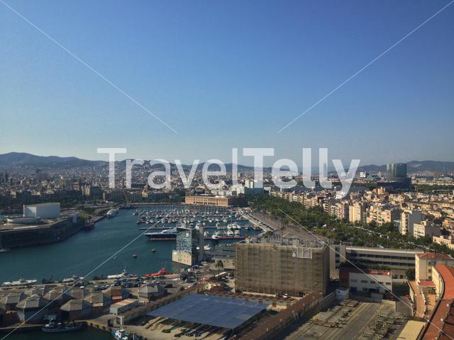 View from the The Port Cable Car in Barcelona Spain