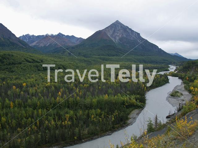 River with mountain view in Alaska