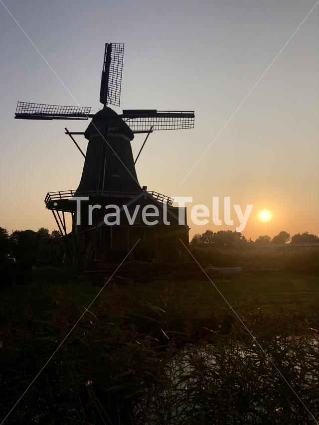 Sunset behind the windmill in IJlst Friesland, The Netherlands