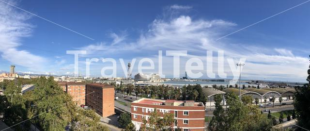 Panorama from Barcelona harbor and Port Vell Aerial Tramway in Barcelona, Spain