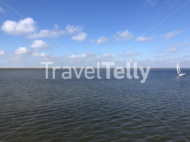 Sailing at the Wadden sea in The Netherlands