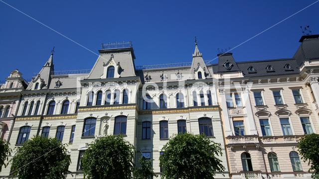 Art Nouveau apartment buildings in Albert Street in Riga Latvia