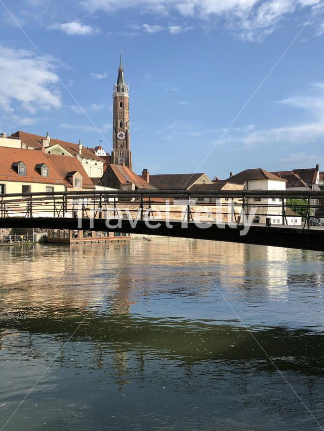 Bridge over the the Isar river in Landshut Germany