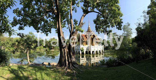 Panorama from a Thai temple building in a lake at King Rama IX Park in Bangkok, Thailand