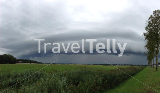 Panorama from a shelf cloud in The Netherlands