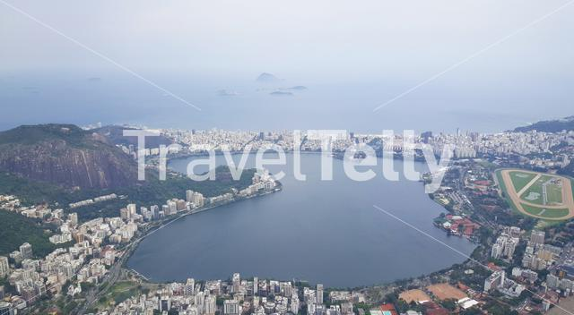 View from Corcovado in Rio de Janeiro Brazil with the statue of Christ the Redeemer a top