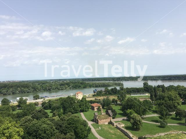 View from the Belgrade Fortress in Belgrade Serbia
