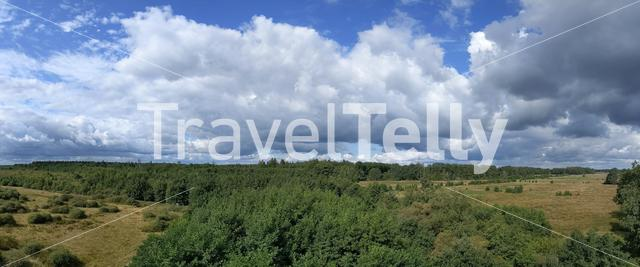 Panoramic view from the observation tower in the forest around Elp in Drenthe, The Netherlands