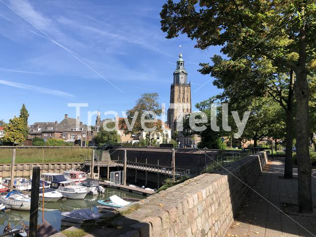 Harbor at the old town with the St. Walburgis Church in Zutphen, Gelderland The Netherlands