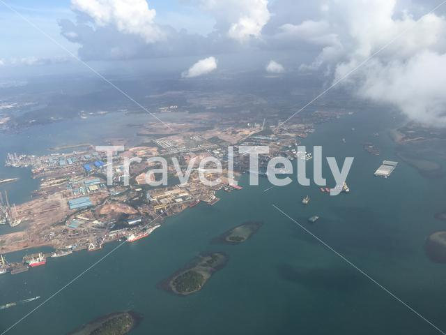 View from the sky flying towards Singapore Airport