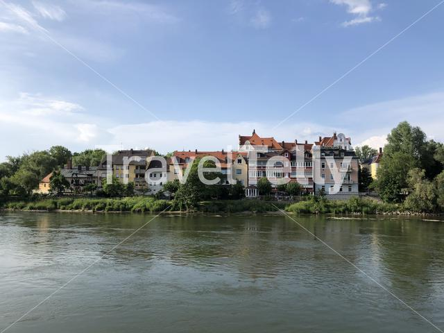 Housing at the waterfront of the danube river in Regensburg Germany