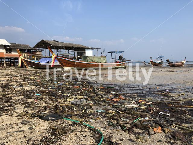 Pollution on the beach during low tide in Koh Mook island, Thailand