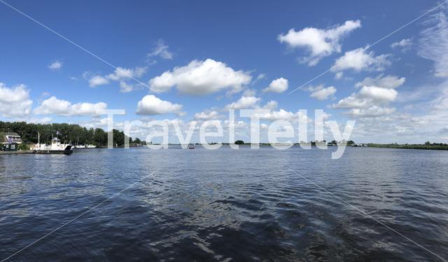 Panorama from a lake around the Veenhoop in Friesland The Netherlands