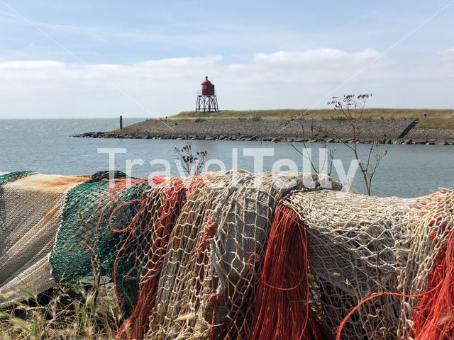 Fishing nets at the pier of Stavoren, Friesland The Netherlands