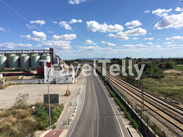 Train track and factory in Valencia Spain