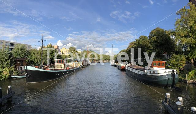 Panorama from rietdiep canal in Groningen, The Netherlands