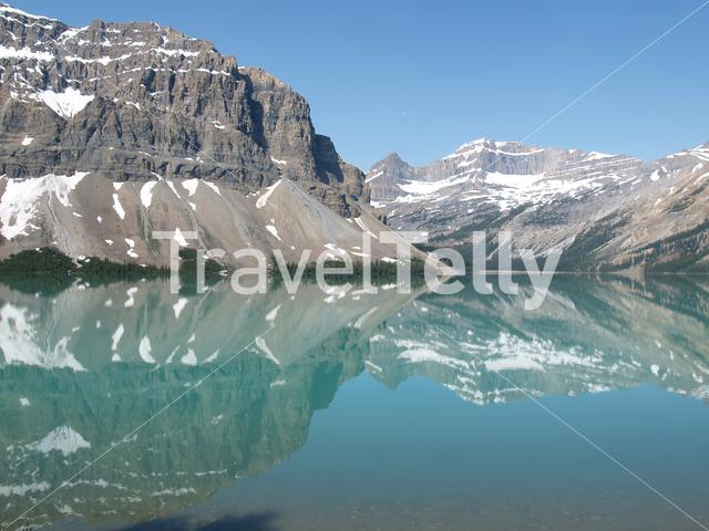 Lake and mountain landscape in Jasper National Park Canada