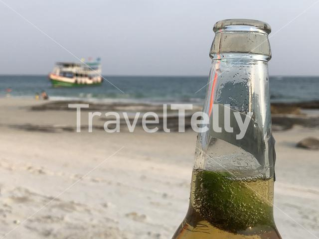A beer with a lime at Koh Samet Island in Thailand