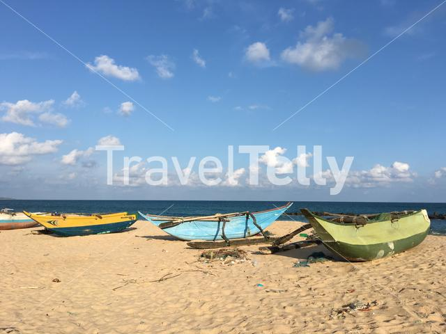 Fishing boats at Tangalle beach in Sri Lanka