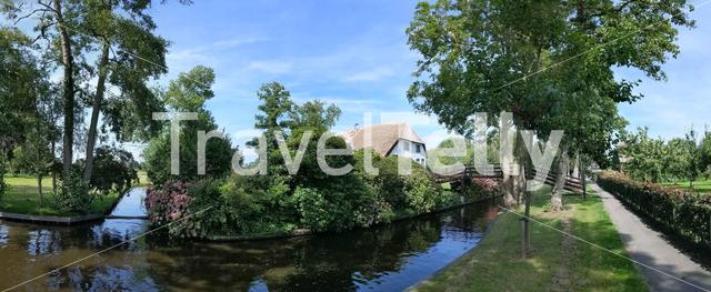 Panorama from a canal in Giethoorn Overijssel, The Netherlands