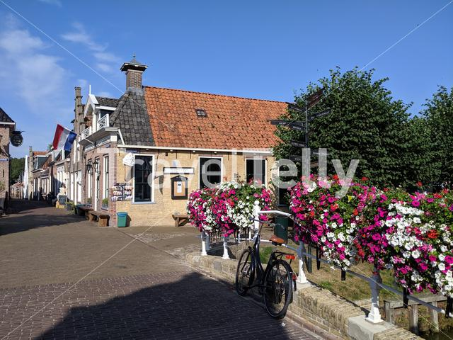 Old town street in Sloten, Friesland The Netherlands