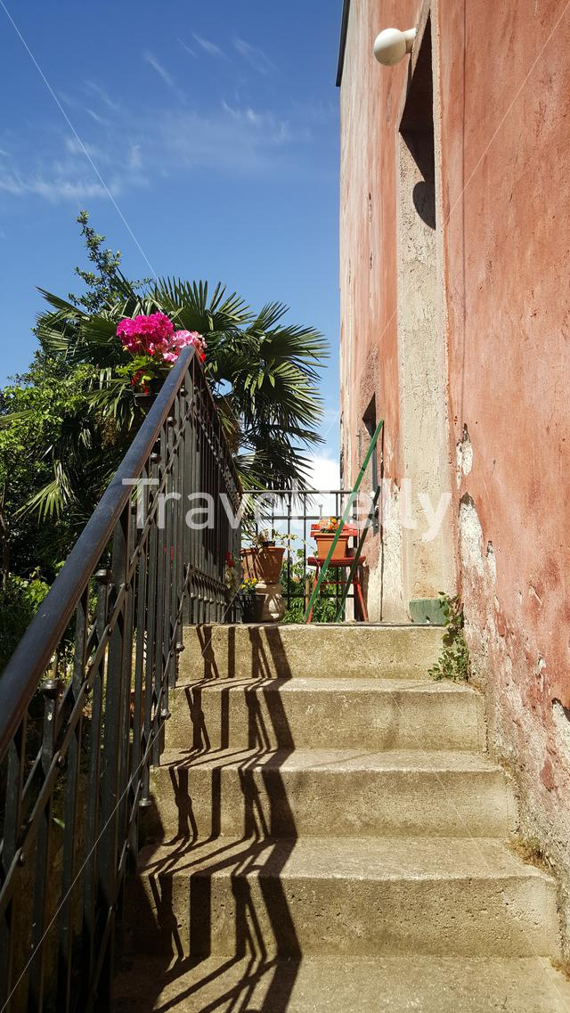stairs in small alley of Rovinj, Croatia