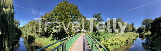 Panorama from a bridge over the Berkel river in Vreden, Germany