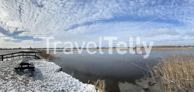 Frozen lake around Sneek , Friesland The Netherlands