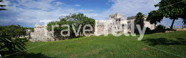 Panorama from the Ancient Mayan fortress in Tulum Yucatan, Mexico