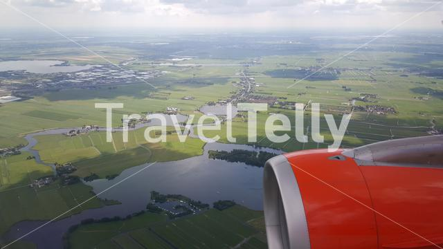 Flying above The Netherlands arriving at Schiphol Airport