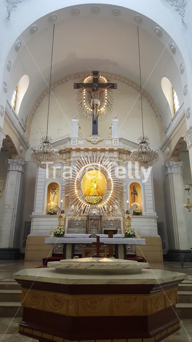 Inside of Santo Rosario church in Angeles, Philippines