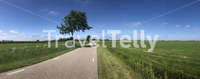Panorama from a road towards Burdaard in Friesland The Netherlands