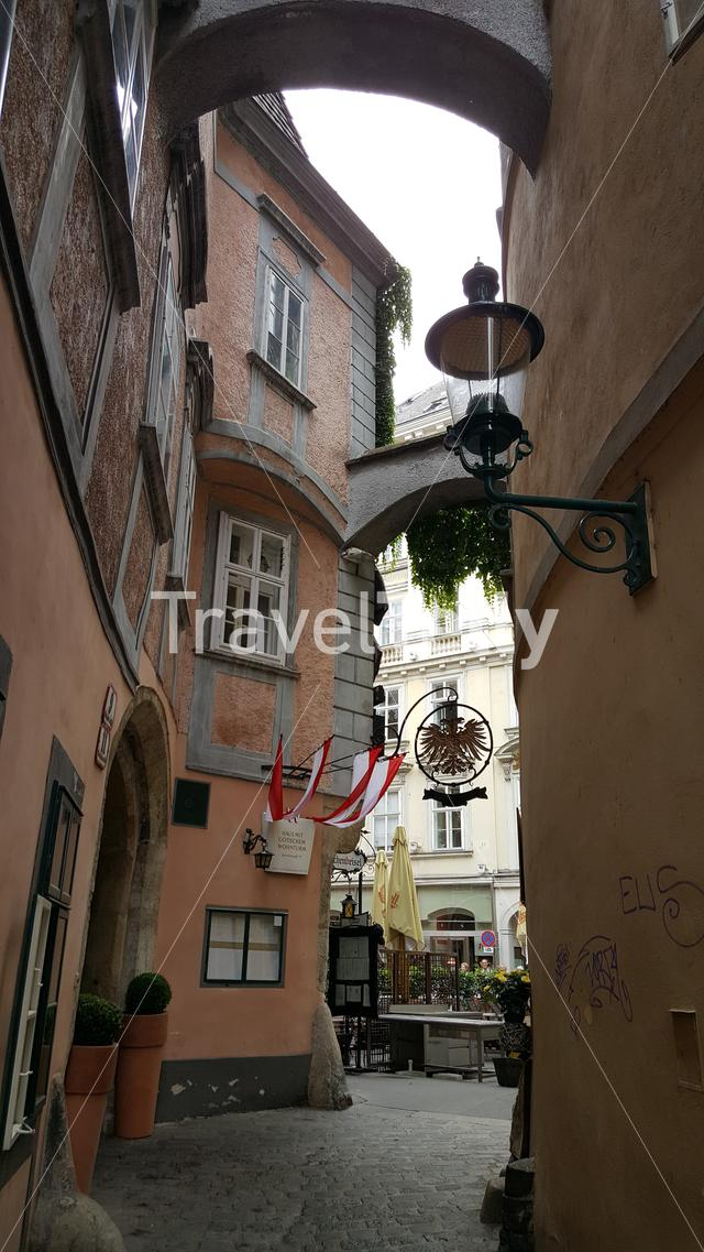 Austrian flags and sign on building in alley Vienna