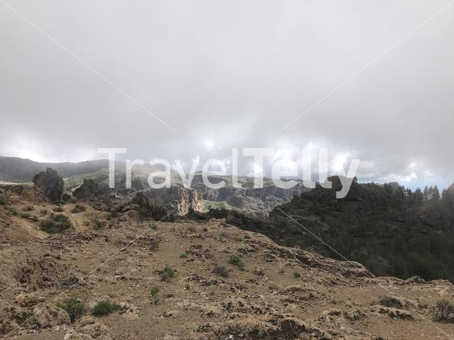 Landscape seen from the Roque Nublo a volcanic rock on the island of Gran Canaria
