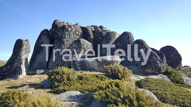 Formation of rocks at Serra da Estrela Natural Park in Portugal