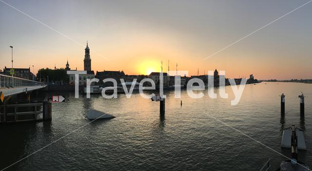 Panorama from the sunset with the skyline from Kampen The Netherlands