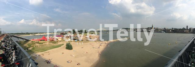Panorama from a festival and the waal in Nijmegen The Netherlands