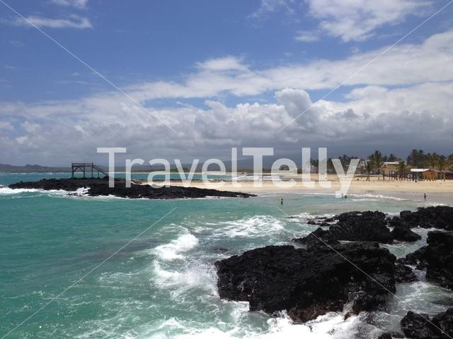 Beach Puerto Villamil with Lookout point Isabela Galapagos Islands