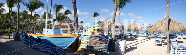 Sign from places around the world with miles aways from Aruba