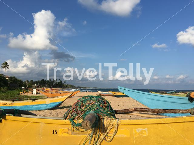 Fishing nets at a boat on Tangalle beach Sri Lanka