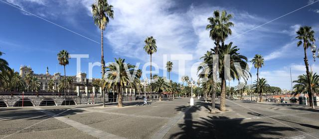 Panorama from the boulevard around the harbor of Barcelona, Spain