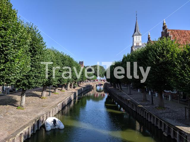 Canal in Sloten, Friesland The Netherlands