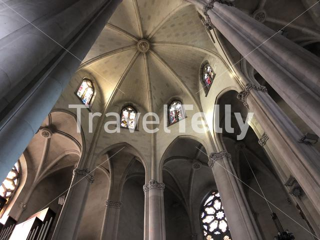 Inside the Expiatory Church of the Sacred Heart of Jesus in Barcelona, Spain