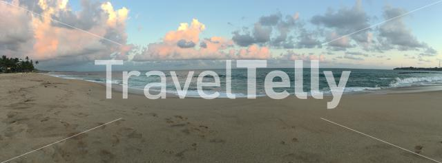 Panorama from Tangalle beach during sunset in Sri Lanka