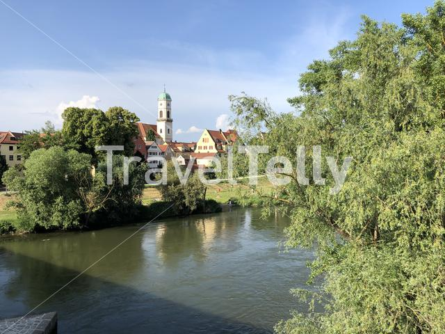 The Danube river in Regensburg Germany