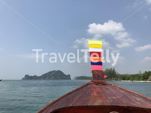 Long-tail boat at the Khuan Tung Ku river towards Koh Mook Thailand